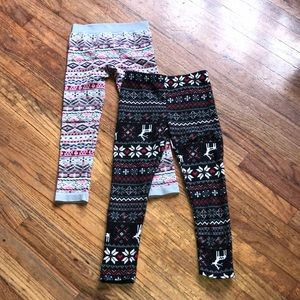 Two pairs of knit leggings